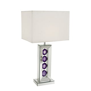 Contemporary Glass Table Lamp with Purple accents