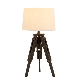 Espresso Wood Tripod Table Lamp