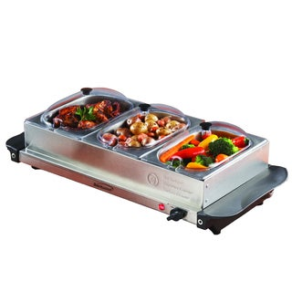 Brentwood BF-315 Triple Buffet Server with Warming Tray