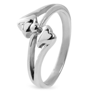 Women's Stainless Steel Polished Overlapping Hearts Band Ring - Silver