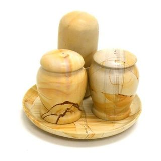 Teak Marble Salt and Pepper with Toothpick Holder Set