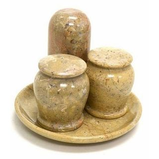 Sahara Beige Marble Salt and Pepper with Tooth Pick Holder Set