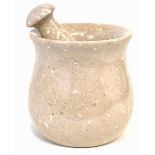 Sahara Beige Brown Marble Mortar and Pestle