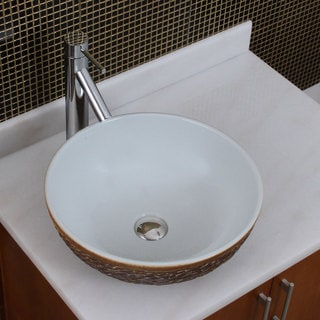Elite 1567 2659Round White Glaze Porcelain Ceramic Bathroom Vessel Sink With Faucet Combo