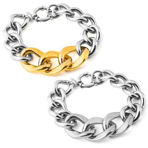 ELYA Polished Stainless Steel Curb Link Chain Bracelet - 7.5 Inches