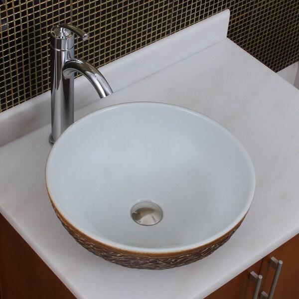 Elite 1567 882002 Round White Glaze Porcelain Ceramic Bathroom Vessel Sink With Faucet Combo
