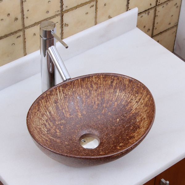 Elite 1566 Oval Mohogany Glaze Porcelain Ceramic Bathroom Vessel Sink
