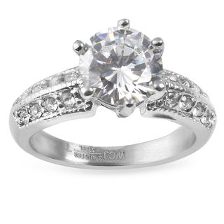 Women's Stainless Steel Polished Cubic Zirconia Ring - Clear/Silver