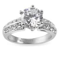 Women's Stainless Steel Polished Cubic Zirconia Ring - Silver