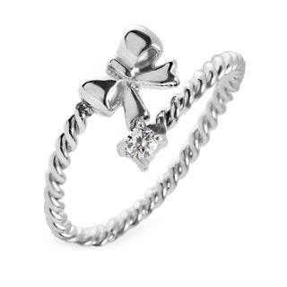 Women's Stainless Steel Twisted Rope Bow with Cubic Zirconia Wrap Around Ring