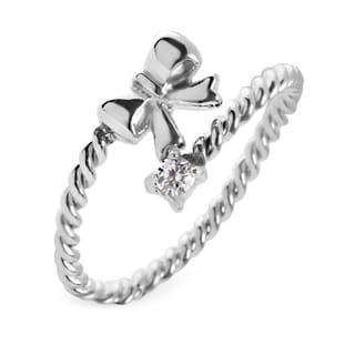 Women's Stainless Steel Twisted Rope Bow with Cubic Zirconia Wrap Around Ring - Clear/Silver