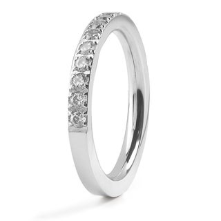 Women's Stainles Steel Polished Cubic Zirconia Band