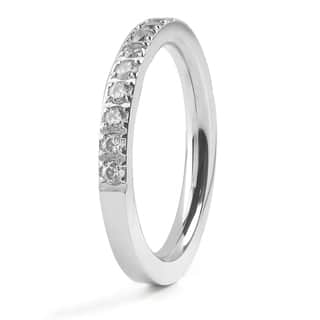 Women's Stainles Steel Polished Cubic Zirconia Band - Clear/Silver|https://ak1.ostkcdn.com/images/products/10473497/P17563323.jpg?impolicy=medium