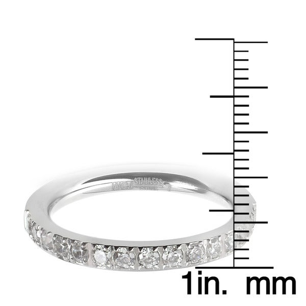 Women's Stainless Steel Polished Cubic Zirconia Band - Silver