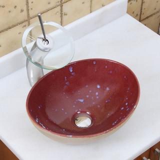 Elite 1563 F22T Oval Ruby Glaze Porcelain Ceramic Bathroom Vessel Sink Waterfall Faucet Combo