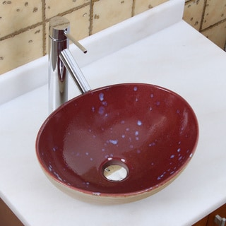Elite 1563 2659 Oval Ruby Glaze Porcelain Ceramic Bathroom Vessel Sink With Faucet Combo