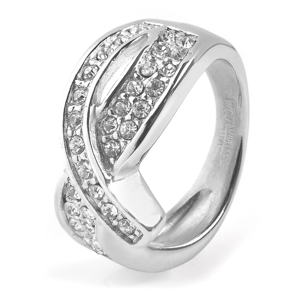 Women's Stainless Steel Ribbon Cubic Zirconia Ring - Clear/Silver