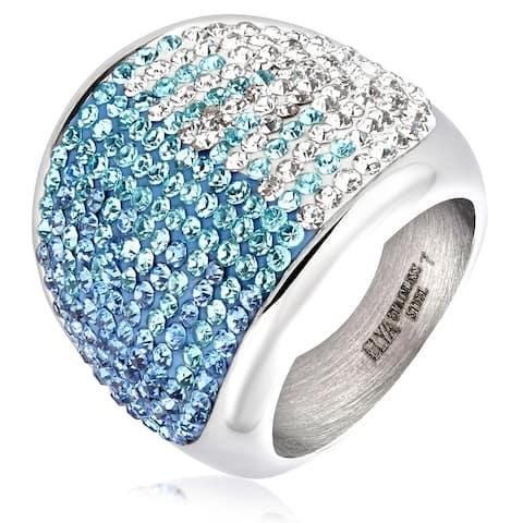 ELYA Stainless Steel Crystal Cocktail Ring