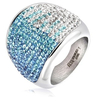 ELYA Stainless Steel Crystal Cocktail Ring