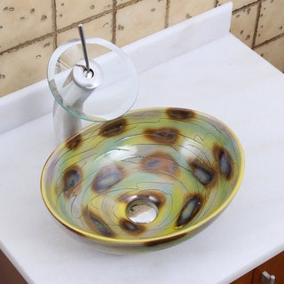 Elite 1560 F22T Oval Magic Color Glaze Porcelain Ceramic Bathroom Vessel Sink Waterfall Faucet Combo