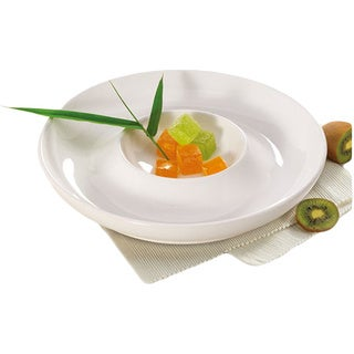Alpine Cuisine White 11.5-inch Ceramic Chip and Dip Platter