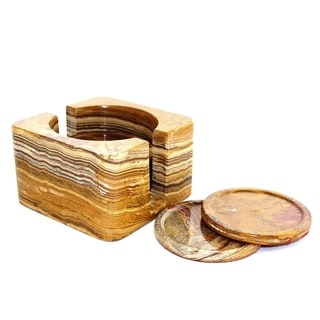 Multi Onyx Coasters with Square Holder (Set of 6)