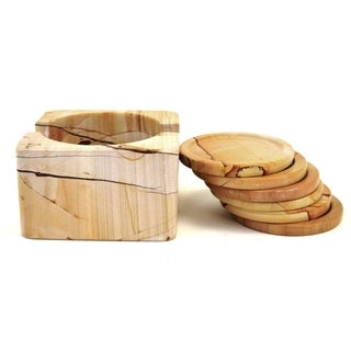 Teakwood Marble Coasters with Square Holder (Set of 6)