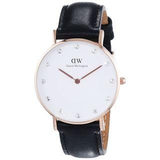 Daniel Wellington Women's 0951DW 'Sheffield' Crystal Black Leather Watch