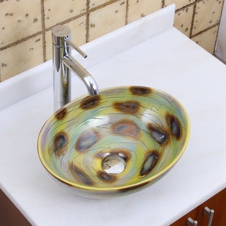 Elite 1560 F371023 Oval Magic Color Glaze Porcelain Ceramic Bathroom Vessel Sink With Faucet Combo