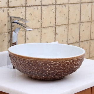 Elite 1567 Round White Glaze Porcelain Ceramic Bathroom Vessel Sink