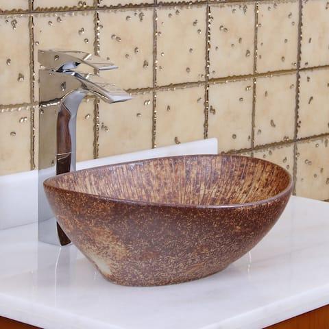 Elite 1564 Oval Matt Iron Ore Glaze Porcelain Ceramic Bathroom Vessel Sink
