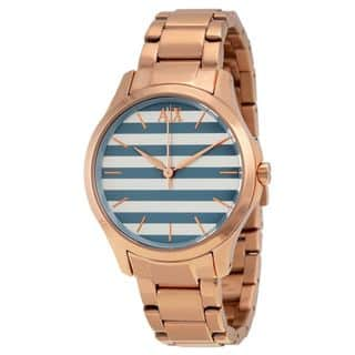 Armani Exchange Women's AX5234 Rose-Tone Stainless Steel Watch https://ak1.ostkcdn.com/images/products/10473597/P17563431.jpg?impolicy=medium