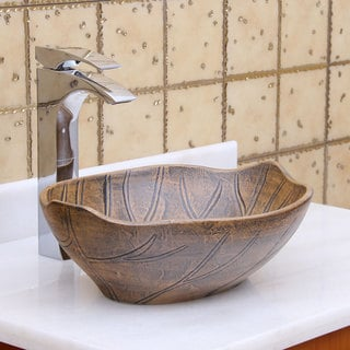 Elite 1562 Oval Matt Glaze Autumn Leave Style Porcelain Ceramic Bathroom Vessel Sink