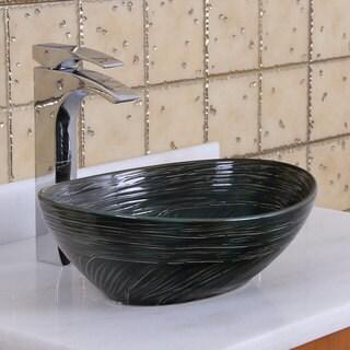 Elite 1559 Oval Dark Green Glaze Porcelain Ceramic Bathroom Vessel Sink