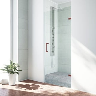 VIGO SoHo 28-inch Adjustable Frameless Shower Door with Clear Glass and Oil Rubbed Bronze Hardware
