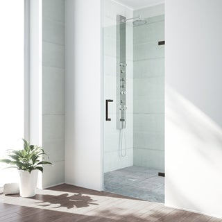 VIGO SoHo 30-inch Adjustable Frameless Shower Door with Clear Glass and Antique Rubbed Bronze Hardware
