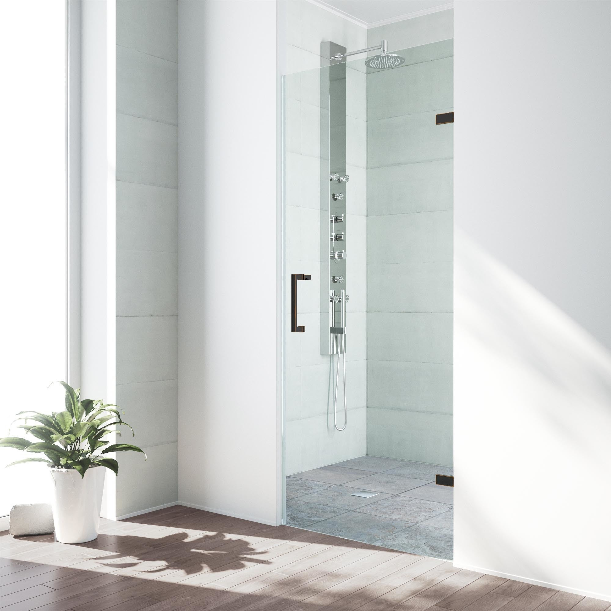Vigo Soho 30 Inch Adjustable Frameless Shower Door With Clear Glass And Antique Rubbed Bronze Hardware