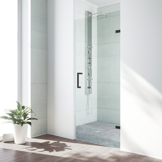 VIGO SoHo 28-inch Adjustable Frameless Shower Door with Clear Glass and Antique Rubbed Bronze Hardware