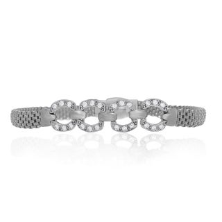 Sterling Essentials Silver Mesh CZ Link Stations Bracelet