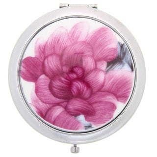 Handmade Porcelain Rose Color Flower Cosmetic Mirror (China)