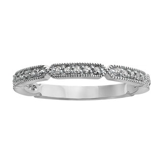 Beverly Hills Charm 10k Gold 1/5ct TDW Diamond Milgrain Stackable Anniversary Band