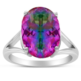 5 1/2 Carat Oval Shape Rainbow Amethyst Ring In Sterling Silver