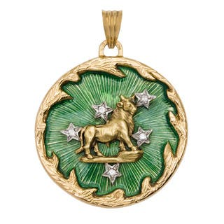 18k Yellow Gold 1/4ct TDW Diamond Enameled Astrological Taurus Estate Pendant (H-I, SI1-SI2)|https://ak1.ostkcdn.com/images/products/10473681/P17563494.jpg?impolicy=medium