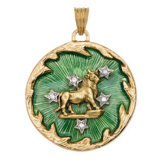 18k Yellow Gold 1/4ct TDW Diamond Enameled Astrological Taurus Estate Pendant (H-I, SI1-SI2)