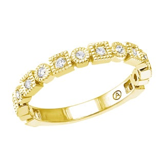 10k Gold 1/4ct TDW Diamond Semi Eternity Vintage Inspired Band Ring