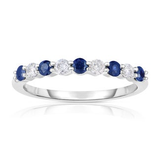Eloquence 14k White Gold 1/2ct TW Diamond and Sapphire Band - White H-I