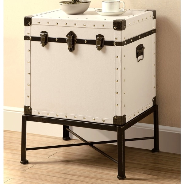 Traveler Design Trunk Style Accent StorageTable with Metal Frame
