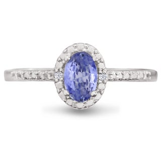 3/8ct Oval Shape Tanzanite and Halo Diamond Ring In Sterling Silver