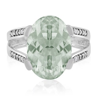 5 1/2 Carat Oval Shape Green Amethyst and Diamond Ring In Sterling Silver