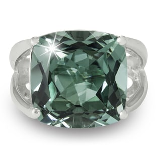 12 Carat Cushion Cut Green Amethyst Ring In Sterling Silver